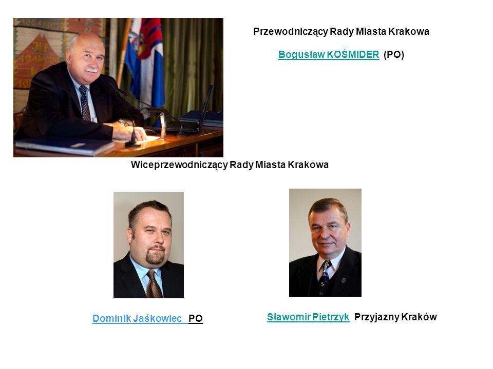 Przewodniczący Rady Miasta Krakowa Bogusław KOŚMIDERBogusław KOŚMIDER (PO) Wiceprzewodniczący Rady Miasta Krakowa Dominik Jaśkowiec PO Sławomir Pietrz