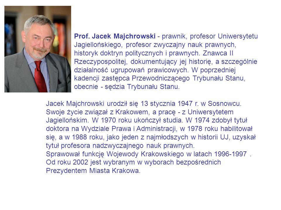 Prof. Jacek Majchrowski - prawnik, profesor Uniwersytetu Jagiellońskiego, profesor zwyczajny nauk prawnych, historyk doktryn politycznych i prawnych.