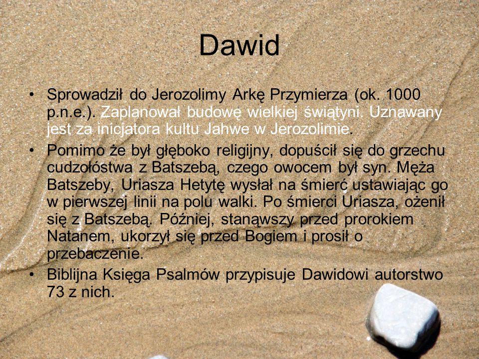Dawid Sprowadził do Jerozolimy Arkę Przymierza (ok. 1000 p.n.e.). Zaplanował budowę wielkiej świątyni. Uznawany jest za inicjatora kultu Jahwe w Jeroz