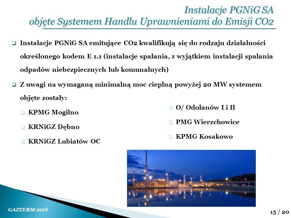 GAZTERM 201 5 15 / 20  Instalacje PGNiG SA emitujące CO2 kwalifikują się do rodzaju działalności określonego kodem E 1.1 (instalacje spalania, z wyją