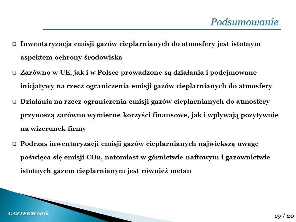 GAZTERM 201 5 19 / 20  Inwentaryzacja emisji gazów cieplarnianych do atmosfery jest istotnym aspektem ochrony środowiska  Zarówno w UE, jak i w Pols