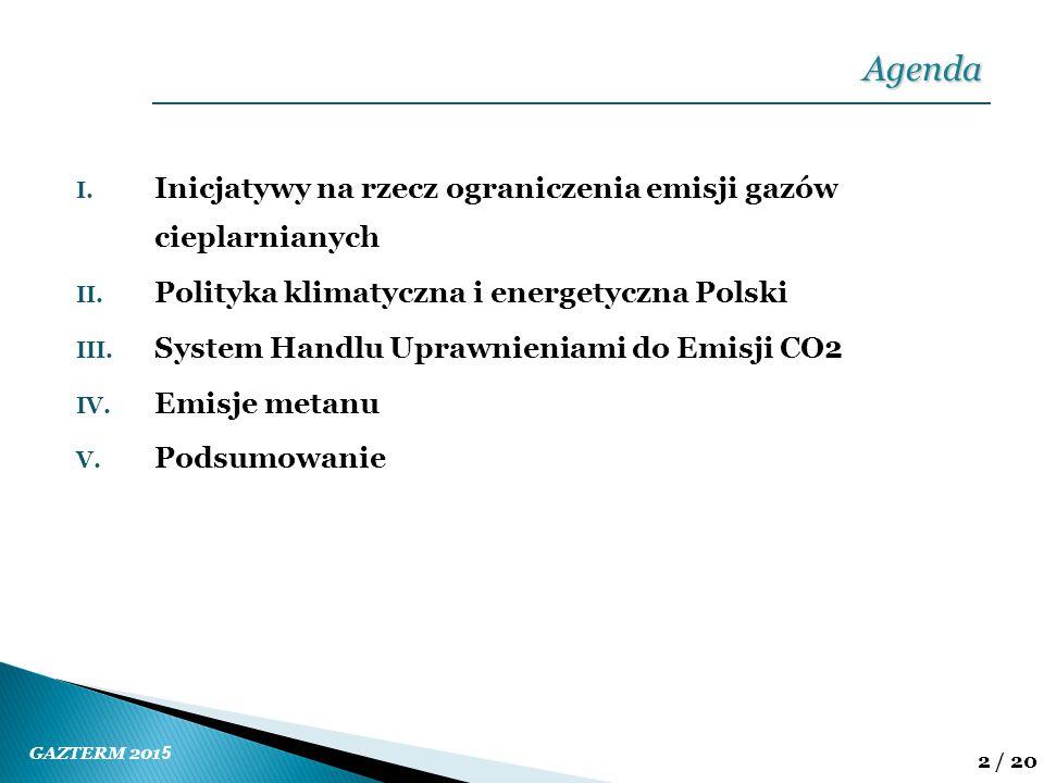 GAZTERM 201 5 2 / 20 I. Inicjatywy na rzecz ograniczenia emisji gazów cieplarnianych II. Polityka klimatyczna i energetyczna Polski III. System Handlu
