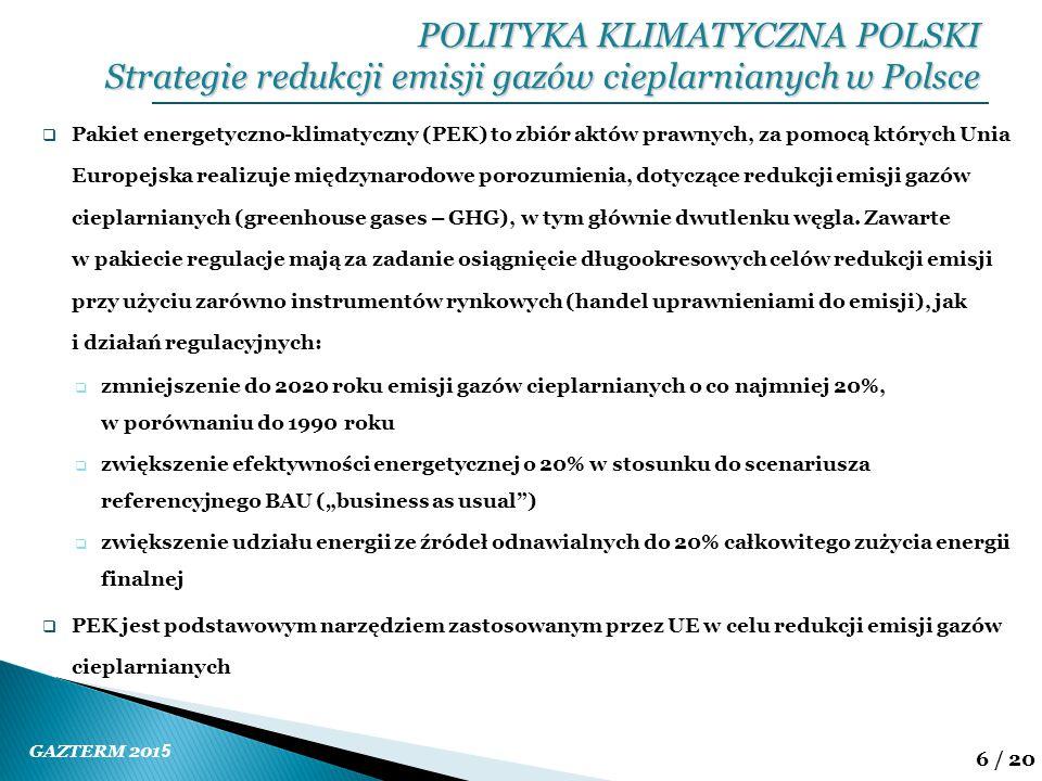 GAZTERM 201 5 6 / 20  Pakiet energetyczno-klimatyczny (PEK) to zbiór aktów prawnych, za pomocą których Unia Europejska realizuje międzynarodowe poroz