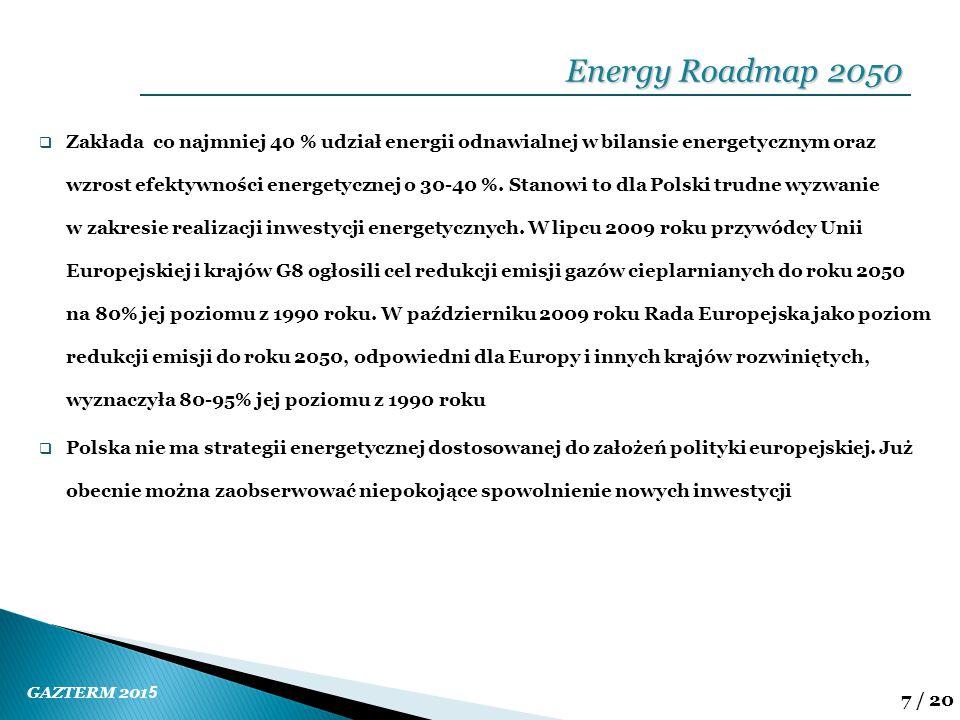 GAZTERM 201 5 8 / 20  Celem polityki energetycznej państwa jest zapewnienie bezpieczeństwa energetycznego kraju, wzrostu konkurencyjności gospodarki i jej efektywności energetycznej, a także ochrony środowiska  poprawa efektywności energetycznej  wzrost bezpieczeństwa dostaw paliw i energii  dywersyfikacja struktury wytwarzania energii elektrycznej  rozwój wykorzystania odnawialnych źródeł energii, w tym biopaliw  rozwój konkurencyjnych rynków paliw i energii  ograniczenie oddziaływania energetyki na środowisko Polityka energetyczna Polski do 2030 roku