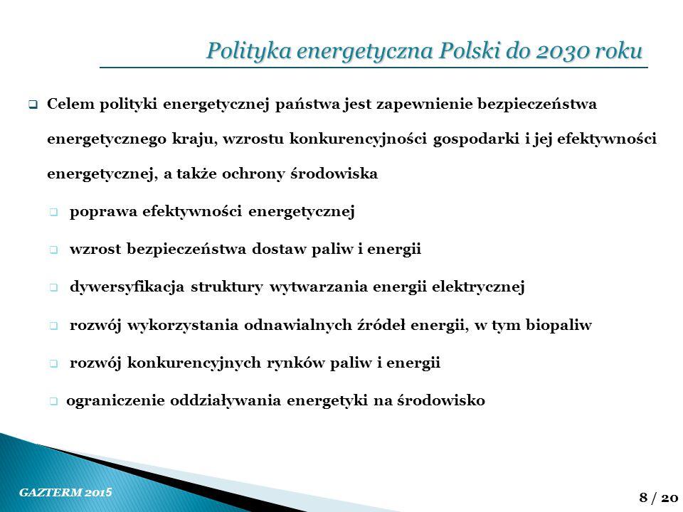 GAZTERM 201 5 8 / 20  Celem polityki energetycznej państwa jest zapewnienie bezpieczeństwa energetycznego kraju, wzrostu konkurencyjności gospodarki