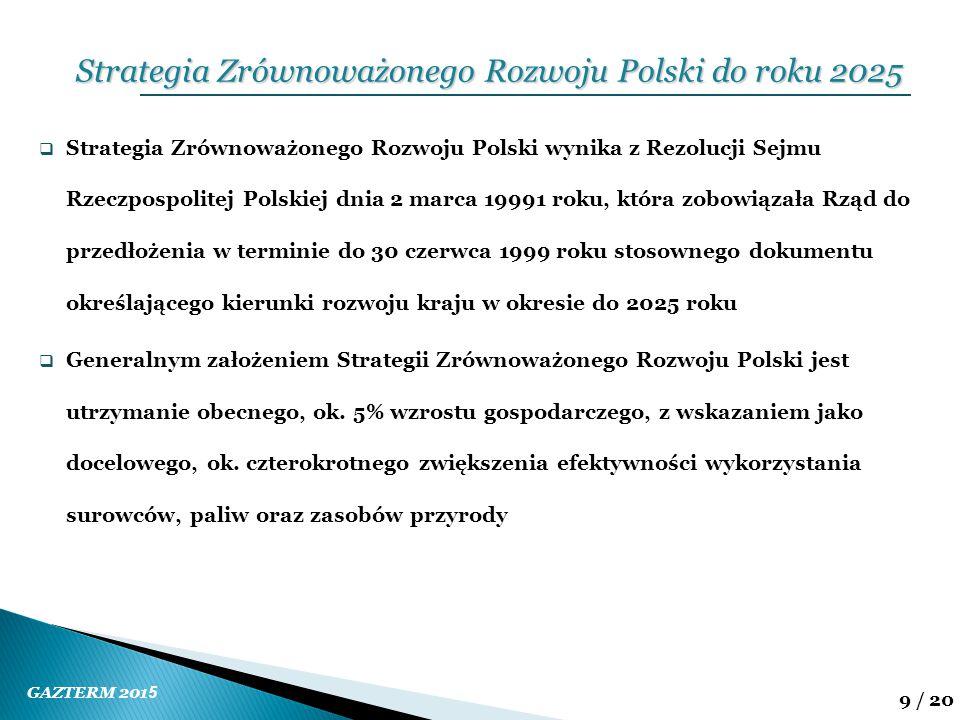 GAZTERM 201 5 9 / 20  Strategia Zrównoważonego Rozwoju Polski wynika z Rezolucji Sejmu Rzeczpospolitej Polskiej dnia 2 marca 19991 roku, która zobowi