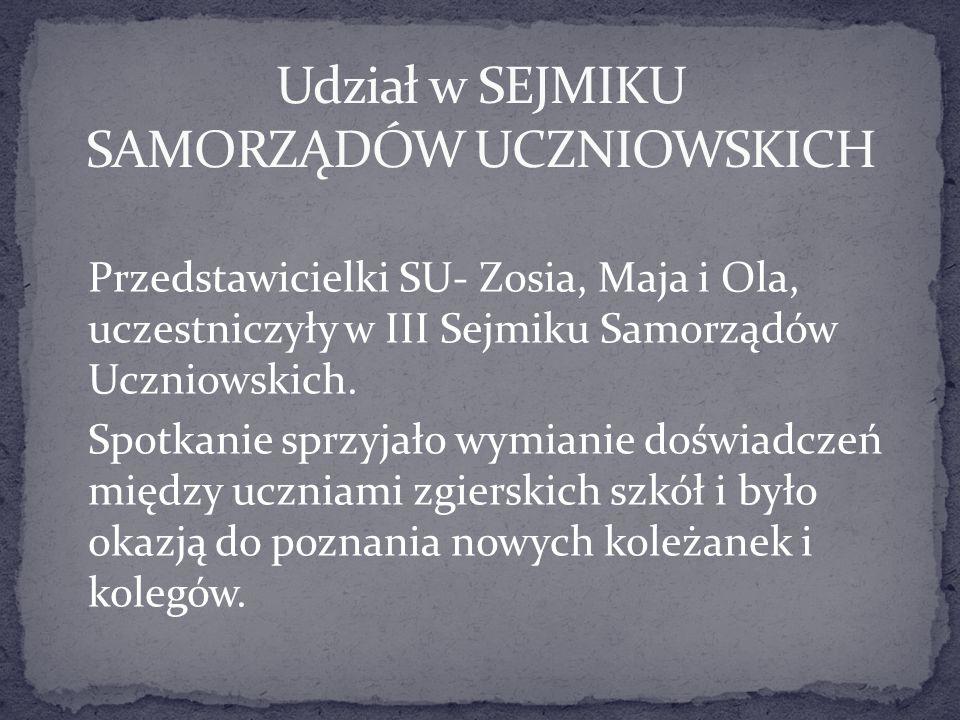 Przedstawicielki SU- Zosia, Maja i Ola, uczestniczyły w III Sejmiku Samorządów Uczniowskich. Spotkanie sprzyjało wymianie doświadczeń między uczniami