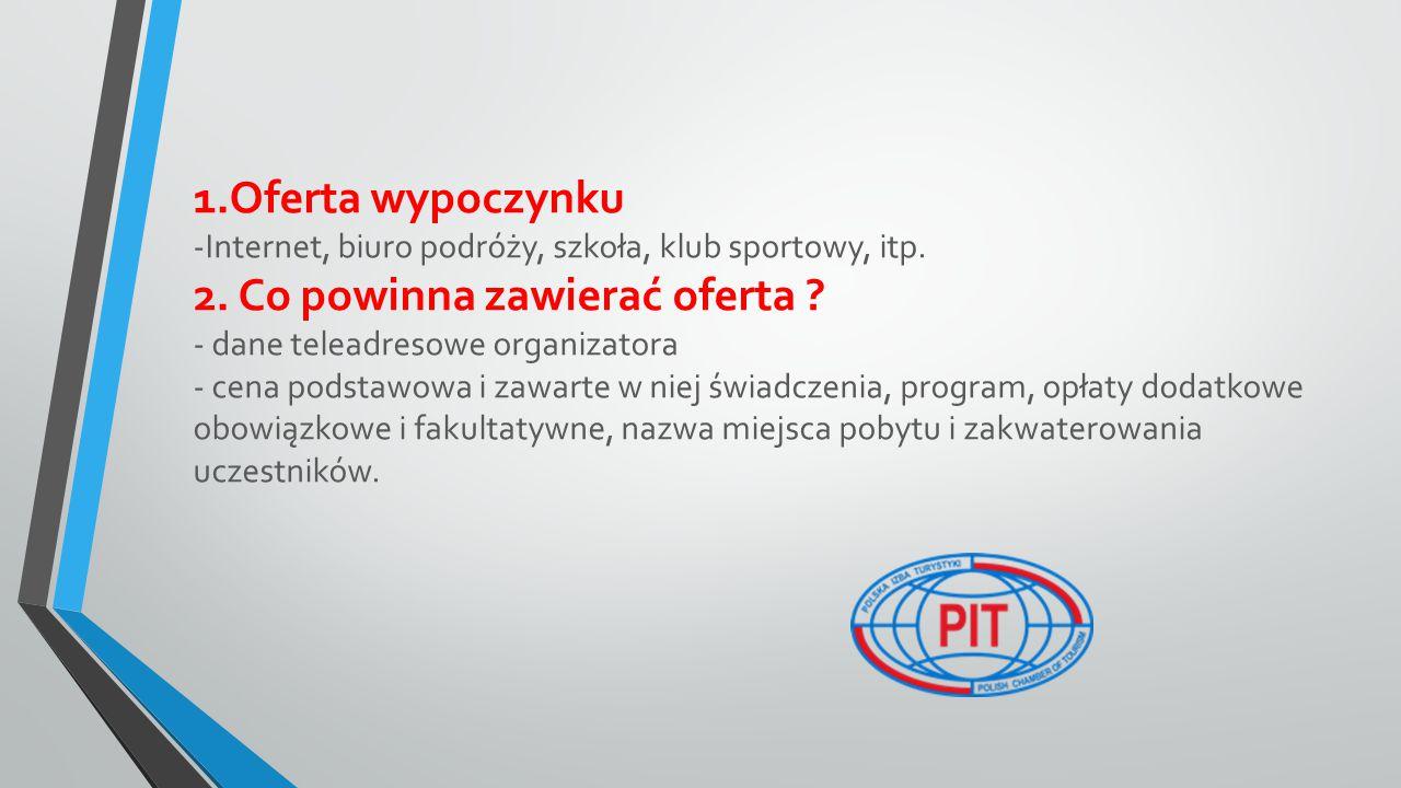 1.Oferta wypoczynku -Internet, biuro podróży, szkoła, klub sportowy, itp.