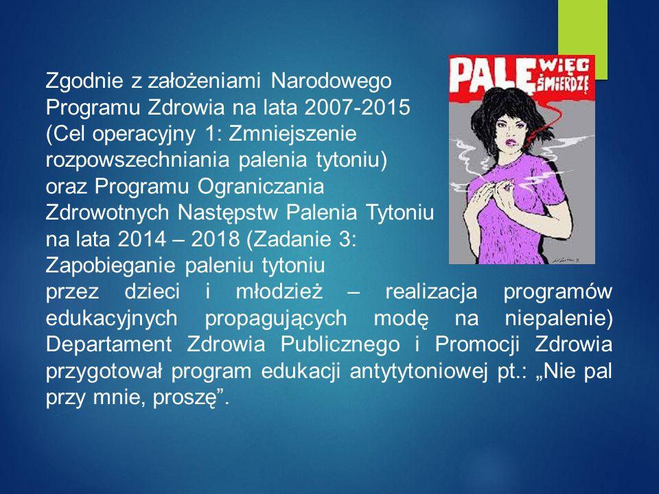 Zgodnie z założeniami Narodowego Programu Zdrowia na lata 2007-2015 (Cel operacyjny 1: Zmniejszenie rozpowszechniania palenia tytoniu) oraz Programu O