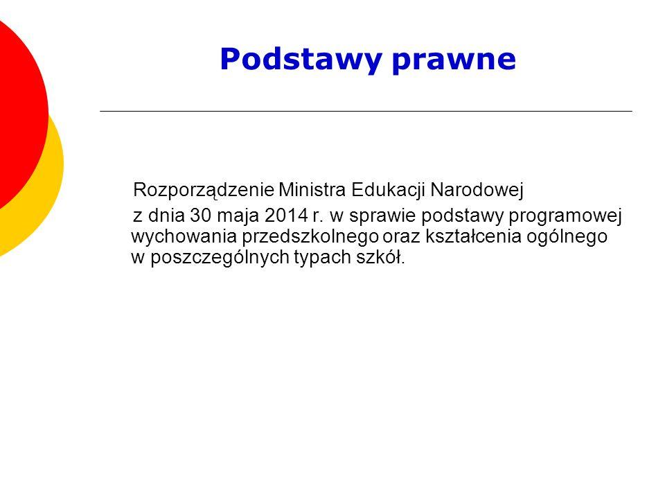 Podstawy prawne Rozporządzenie Ministra Edukacji Narodowej z dnia 30 maja 2014 r. w sprawie podstawy programowej wychowania przedszkolnego oraz kształ