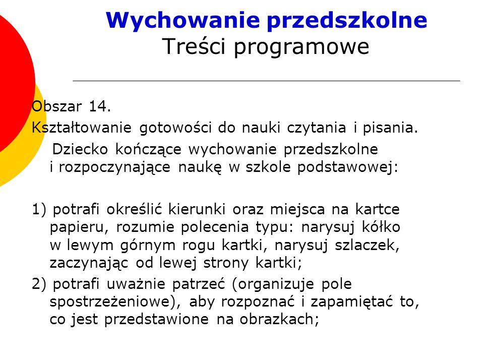 Wychowanie przedszkolne Treści programowe Obszar 14.