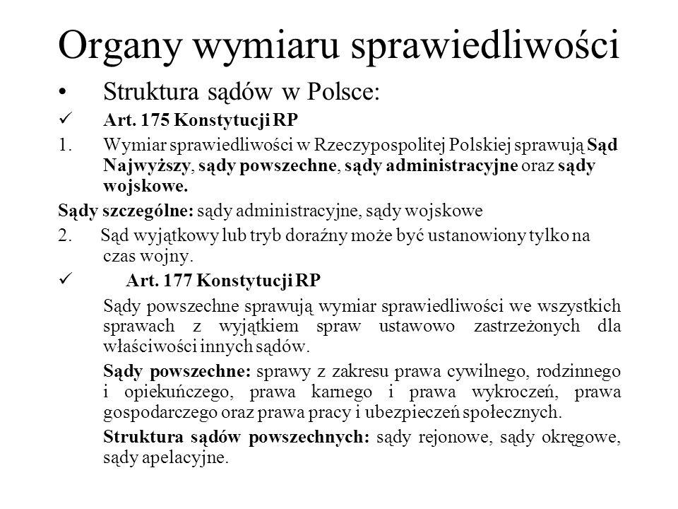 Organy wymiaru sprawiedliwości Struktura sądów w Polsce: Art. 175 Konstytucji RP 1.Wymiar sprawiedliwości w Rzeczypospolitej Polskiej sprawują Sąd Naj