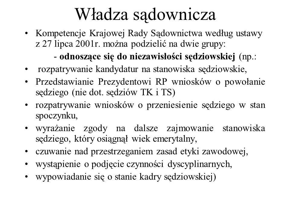 Władza sądownicza Kompetencje Krajowej Rady Sądownictwa według ustawy z 27 lipca 2001r. można podzielić na dwie grupy: - odnoszące się do niezawisłośc