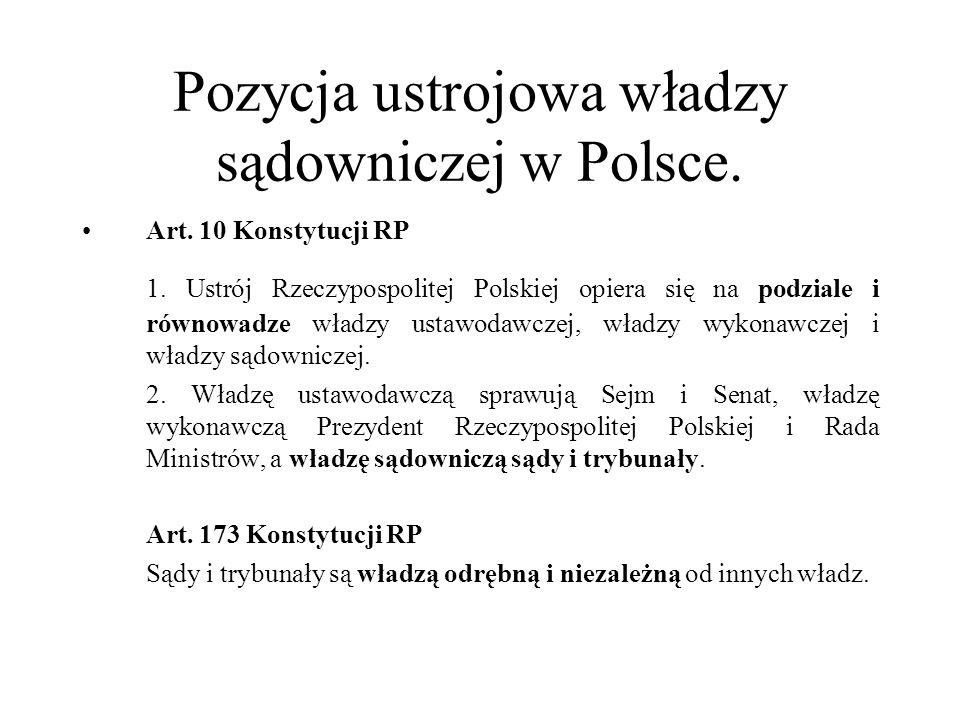 Pozycja ustrojowa władzy sądowniczej w Polsce. Art. 10 Konstytucji RP 1. Ustrój Rzeczypospolitej Polskiej opiera się na podziale i równowadze władzy u