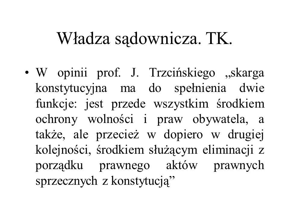 """Władza sądownicza. TK. W opinii prof. J. Trzcińskiego """"skarga konstytucyjna ma do spełnienia dwie funkcje: jest przede wszystkim środkiem ochrony woln"""