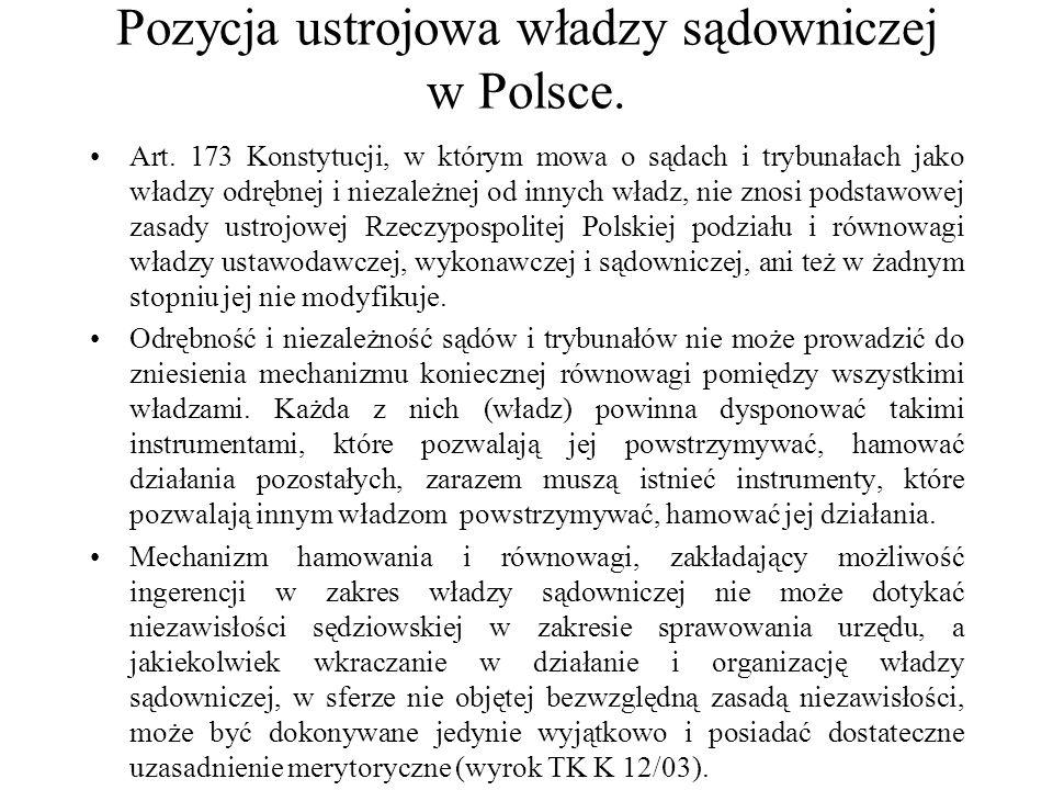 Pozycja ustrojowa władzy sądowniczej w Polsce. Art. 173 Konstytucji, w którym mowa o sądach i trybunałach jako władzy odrębnej i niezależnej od innych