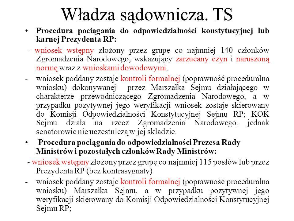 Władza sądownicza. TS Procedura pociągania do odpowiedzialności konstytucyjnej lub karnej Prezydenta RP: - wniosek wstępny złożony przez grupę co najm