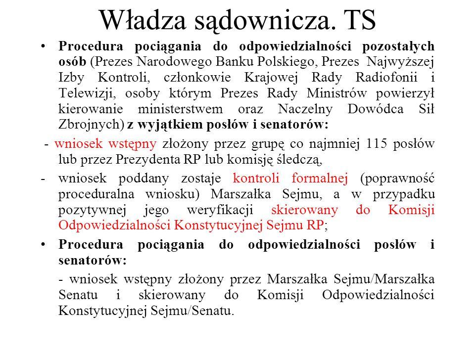 Władza sądownicza. TS Procedura pociągania do odpowiedzialności pozostałych osób (Prezes Narodowego Banku Polskiego, Prezes Najwyższej Izby Kontroli,