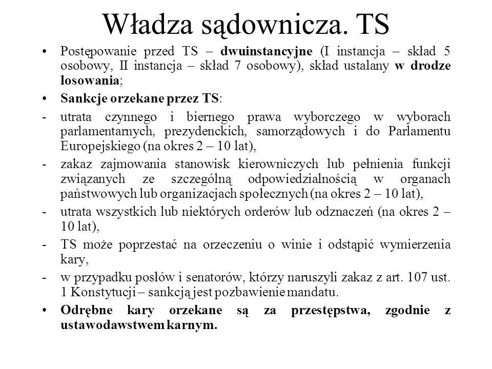 Władza sądownicza. TS Postępowanie przed TS – dwuinstancyjne (I instancja – skład 5 osobowy, II instancja – skład 7 osobowy), skład ustalany w drodze