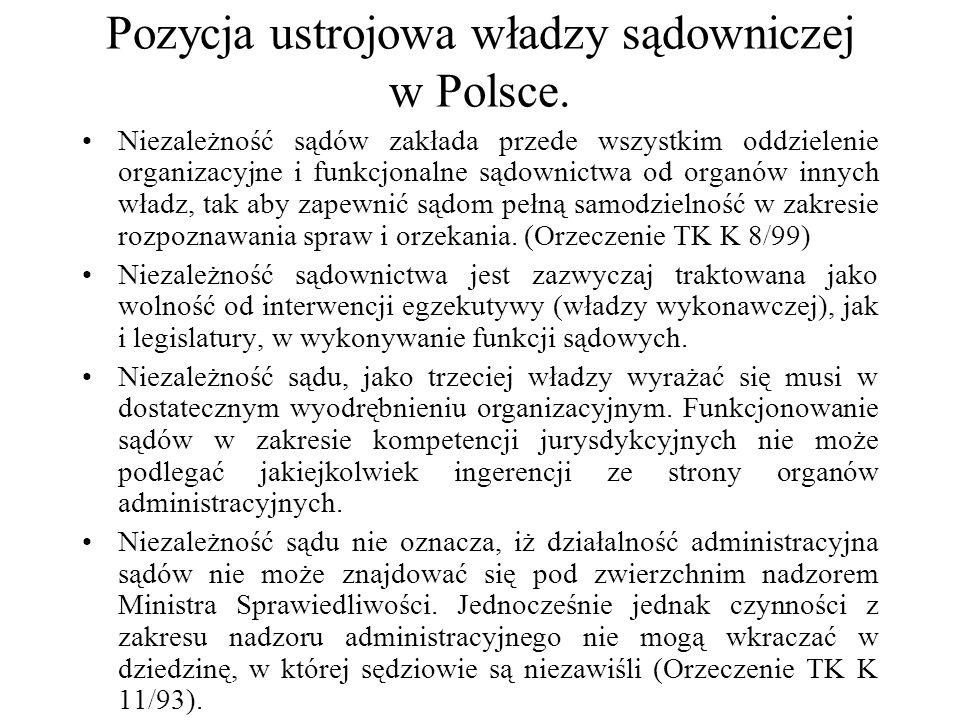 Pozycja ustrojowa władzy sądowniczej w Polsce. Niezależność sądów zakłada przede wszystkim oddzielenie organizacyjne i funkcjonalne sądownictwa od org