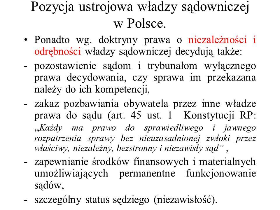 Pozycja ustrojowa władzy sądowniczej w Polsce. Ponadto wg. doktryny prawa o niezależności i odrębności władzy sądowniczej decydują także: -pozostawien