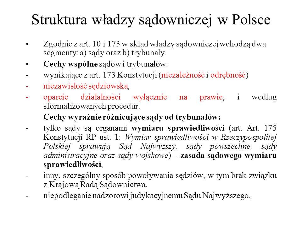 Struktura władzy sądowniczej w Polsce Zgodnie z art. 10 i 173 w skład władzy sądowniczej wchodzą dwa segmenty: a) sądy oraz b) trybunały. Cechy wspóln