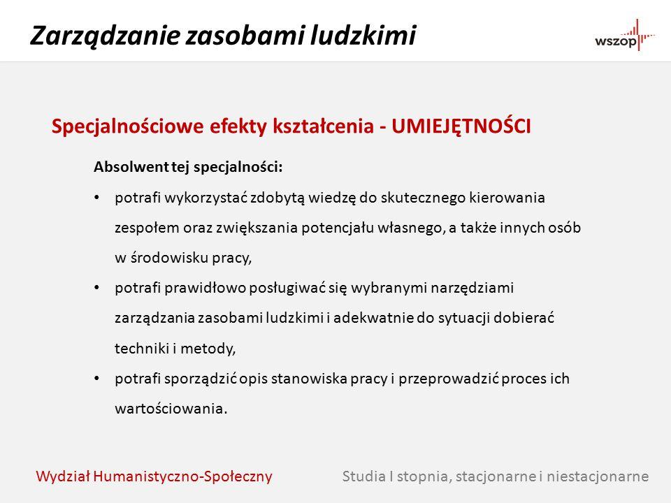 Studia I stopnia, stacjonarne i niestacjonarne Zarządzanie zasobami ludzkimi Wydział Humanistyczno-Społeczny Specjalnościowe efekty kształcenia - UMIE