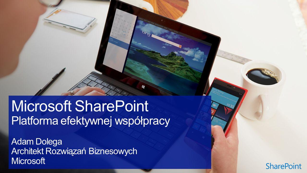 Microsoft SharePoint Platforma efektywnej współpracy Adam Dolega Architekt Rozwiązań Biznesowych Microsoft