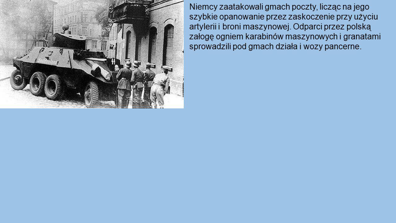 Niemcy zaatakowali gmach poczty, licząc na jego szybkie opanowanie przez zaskoczenie przy użyciu artylerii i broni maszynowej. Odparci przez polską za
