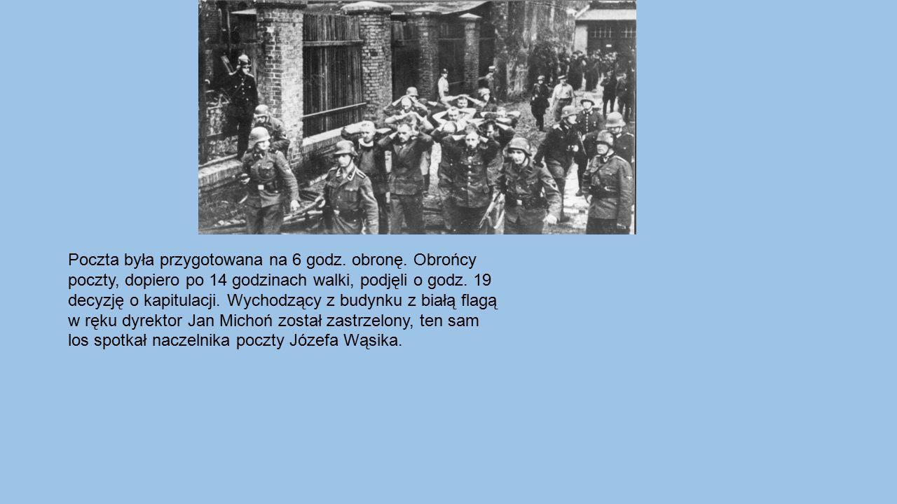 Poczta była przygotowana na 6 godz. obronę. Obrońcy poczty, dopiero po 14 godzinach walki, podjęli o godz. 19 decyzję o kapitulacji. Wychodzący z budy