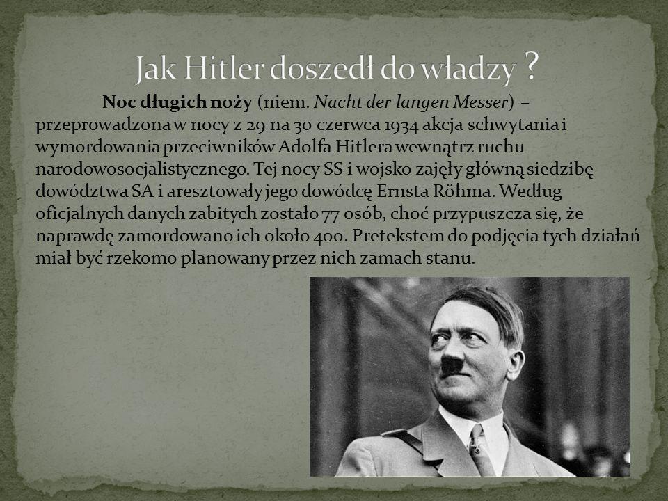 Noc długich noży (niem. Nacht der langen Messer) – przeprowadzona w nocy z 29 na 30 czerwca 1934 akcja schwytania i wymordowania przeciwników Adolfa H