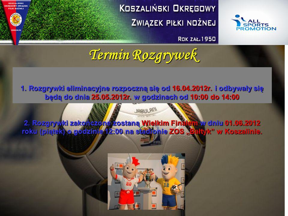 Termin Rozgrywek 1. Rozgrywki eliminacyjne rozpoczną się od 16.04.2012r. i odbywały się będą do dnia 25.05.2012r. w godzinach od 10:00 do 14:00 2. Roz