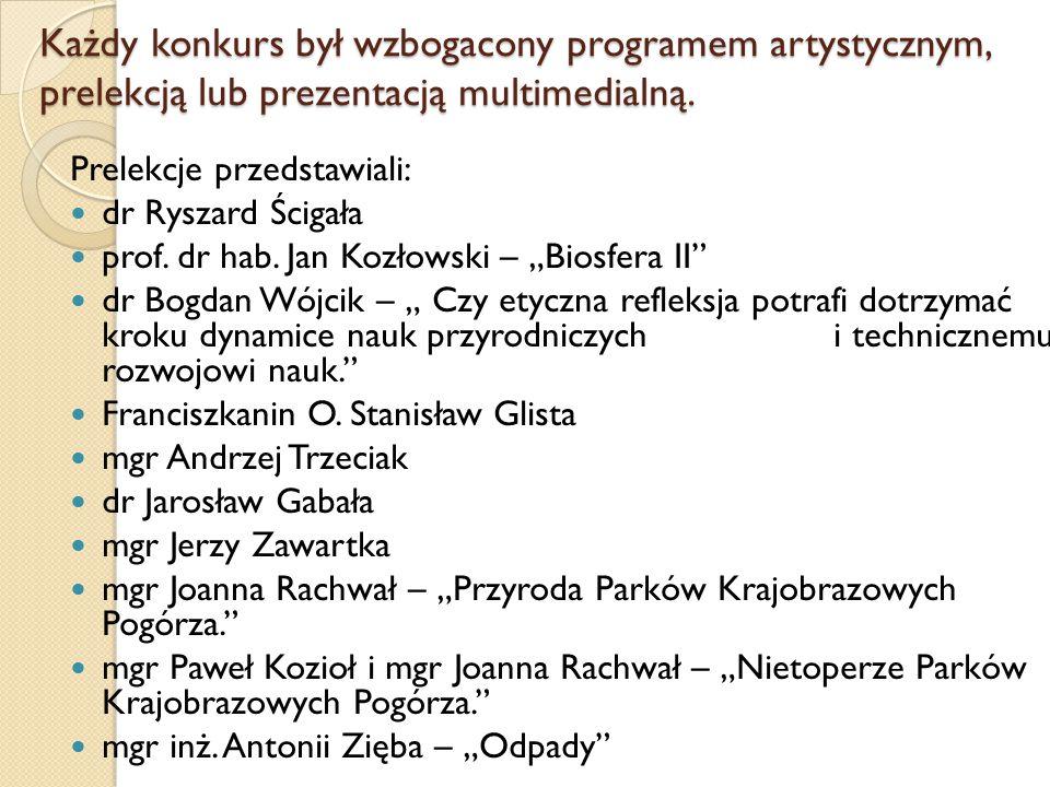 Każdy konkurs był wzbogacony programem artystycznym, prelekcją lub prezentacją multimedialną. Prelekcje przedstawiali: dr Ryszard Ścigała prof. dr hab