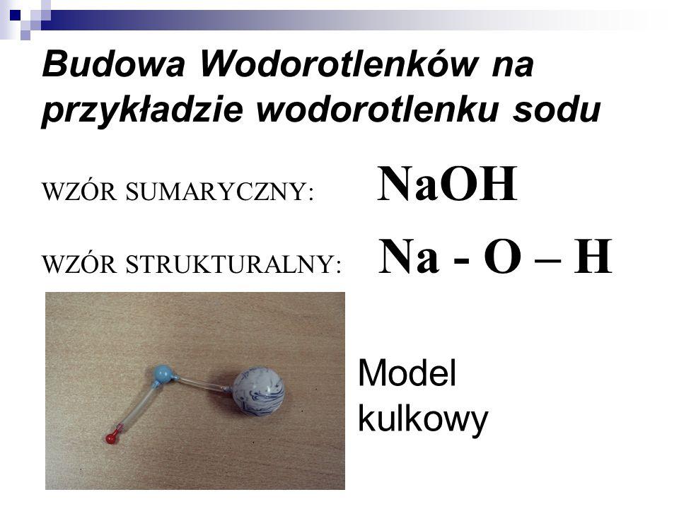 Budowa Wodorotlenków na przykładzie wodorotlenku sodu WZÓR SUMARYCZNY: NaOH WZÓR STRUKTURALNY: Na - O – H Model kulkowy