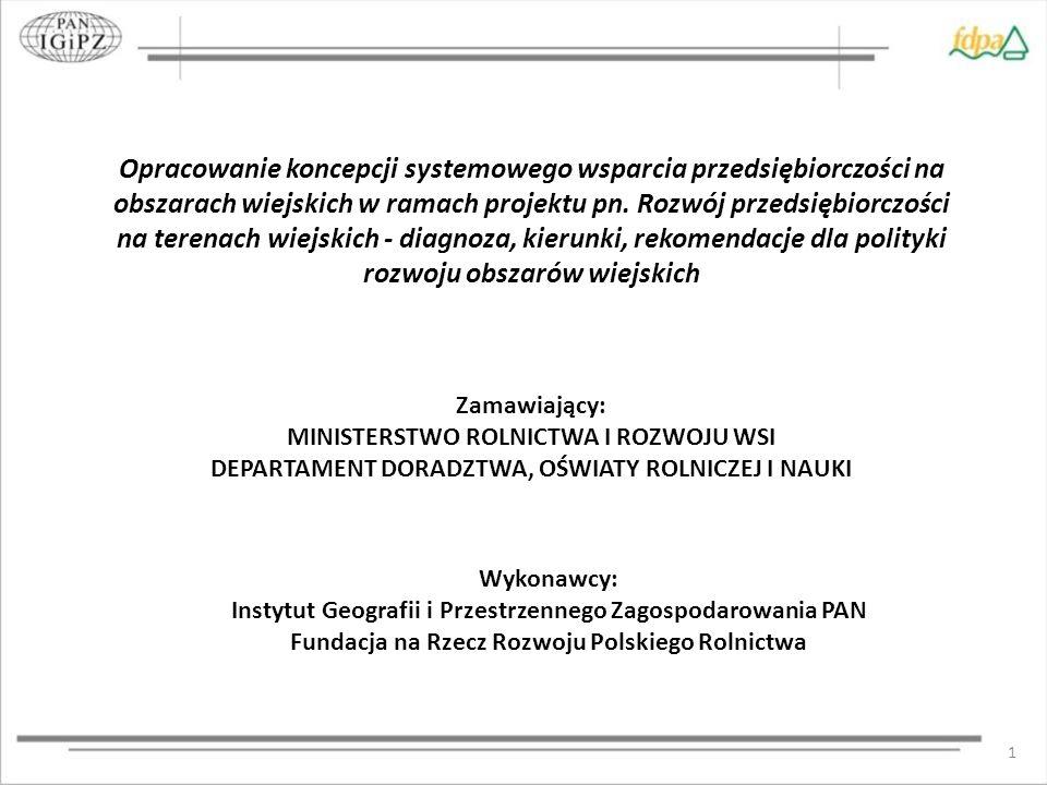 1 Opracowanie koncepcji systemowego wsparcia przedsiębiorczości na obszarach wiejskich w ramach projektu pn.