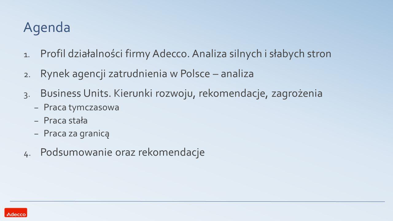 Profil działalności Adecco FAKTY Działalność od 1994 roku na polskim rynku 50 biur w Polsce 320 pracowników wewnętrznych 46 tysięcy osób, które znalazło prace dzięki Adecco w 2014 roku 12 tysięcy, które Adecco zatrudnia dla klientów Ponad 1100 klientów Przychody rzędu 535 mln PLN przy 22 mln zysku PLN Dwukrotny laureat prestiżowego konkursu Perły Polskiej Gospodarki Praca tymczasowa Praca stała Praca za granicą BusinessUnits