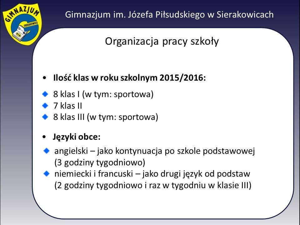 Organizacja pracy szkoły Ilość klas w roku szkolnym 2015/2016: 8 klas I (w tym: sportowa) 7 klas II 8 klas III (w tym: sportowa) Języki obce: angielsk