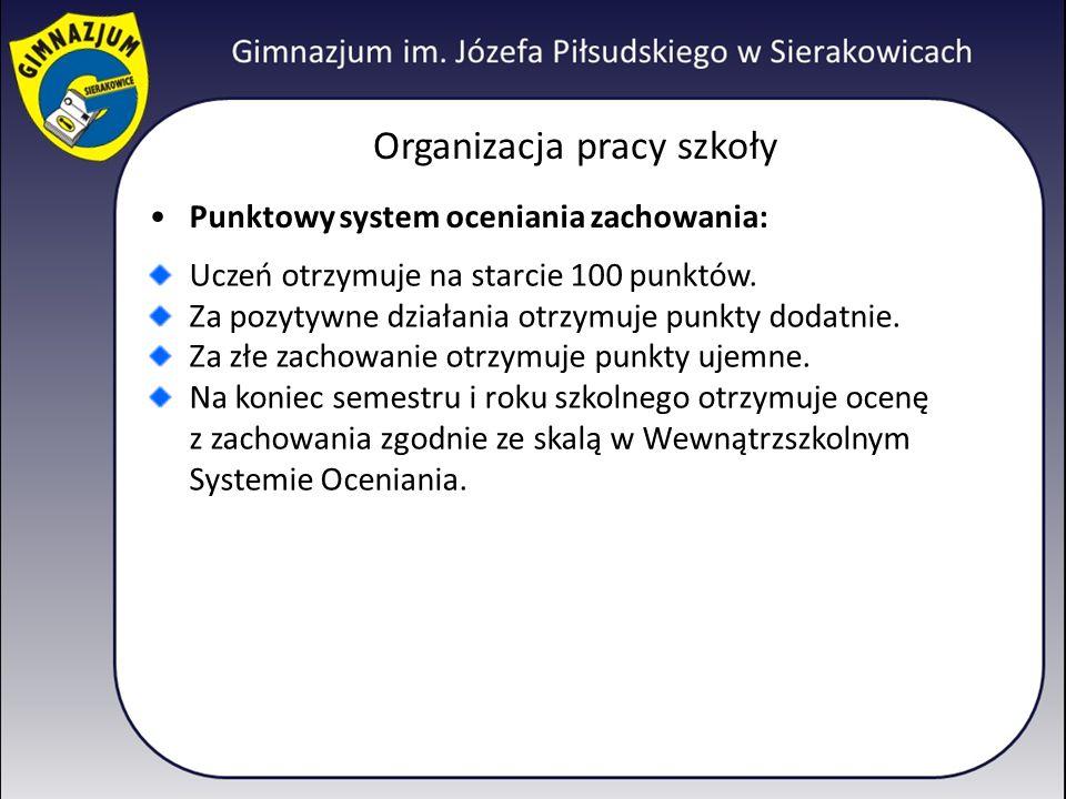 Organizacja pracy szkoły Punktowy system oceniania zachowania: Uczeń otrzymuje na starcie 100 punktów. Za pozytywne działania otrzymuje punkty dodatni