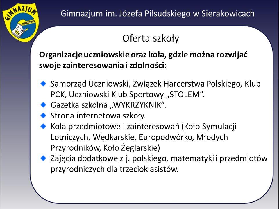 Oferta szkoły Organizacje uczniowskie oraz koła, gdzie można rozwijać swoje zainteresowania i zdolności: Samorząd Uczniowski, Związek Harcerstwa Polsk