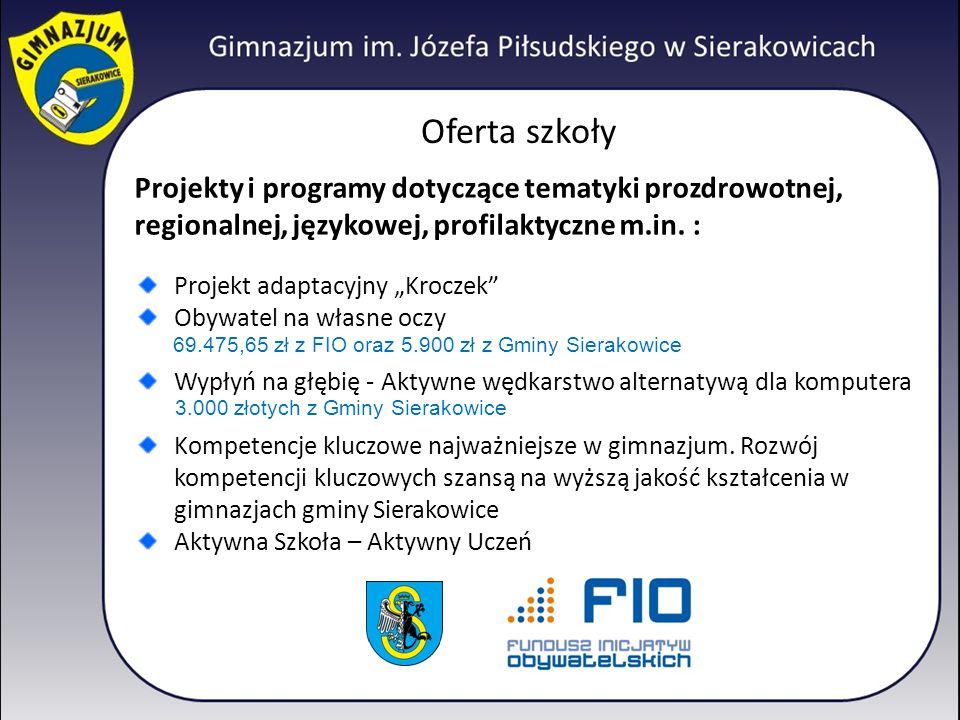 """Oferta szkoły Projekty i programy dotyczące tematyki prozdrowotnej, regionalnej, językowej, profilaktyczne m.in. : Projekt adaptacyjny """"Kroczek"""" Obywa"""