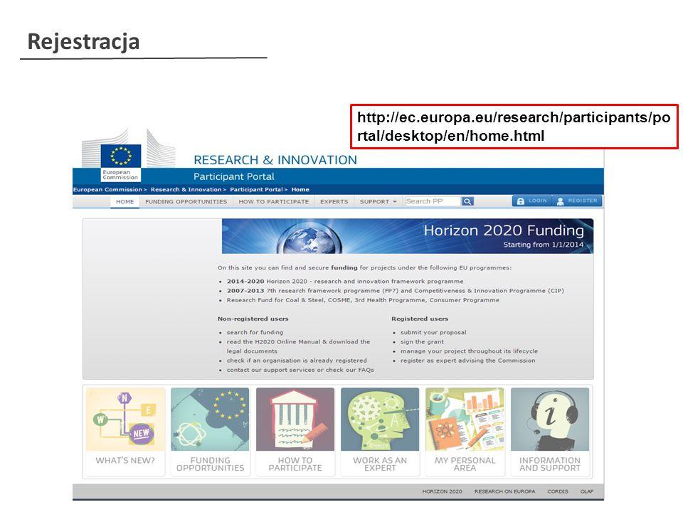 Rejestracja http://ec.europa.eu/research/participants/po rtal/desktop/en/home.html