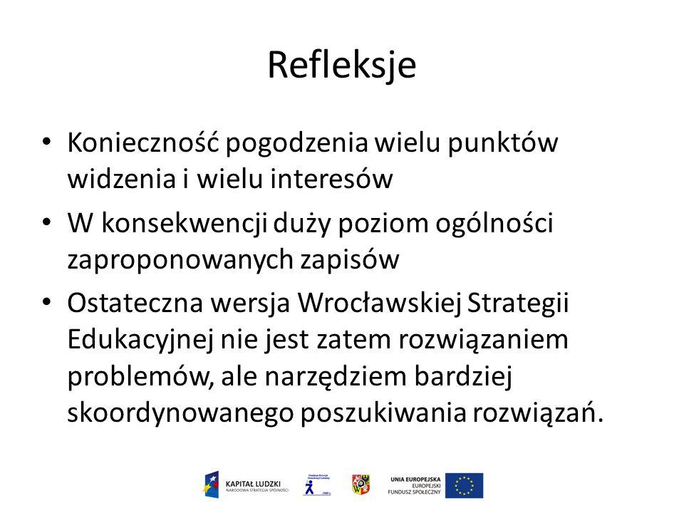 Refleksje Konieczność pogodzenia wielu punktów widzenia i wielu interesów W konsekwencji duży poziom ogólności zaproponowanych zapisów Ostateczna wersja Wrocławskiej Strategii Edukacyjnej nie jest zatem rozwiązaniem problemów, ale narzędziem bardziej skoordynowanego poszukiwania rozwiązań.