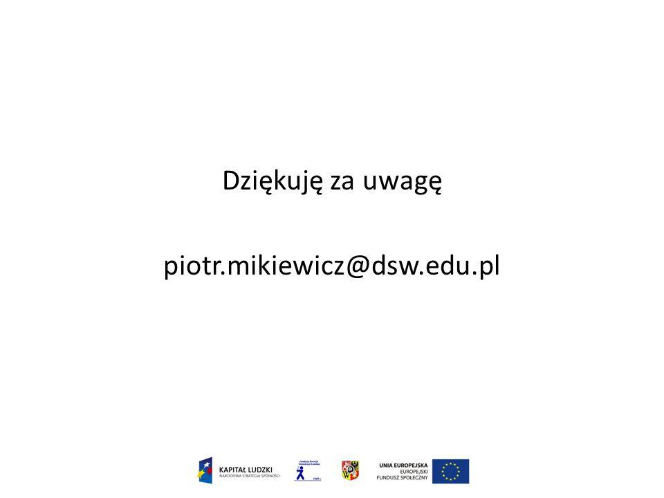 Dziękuję za uwagę piotr.mikiewicz@dsw.edu.pl