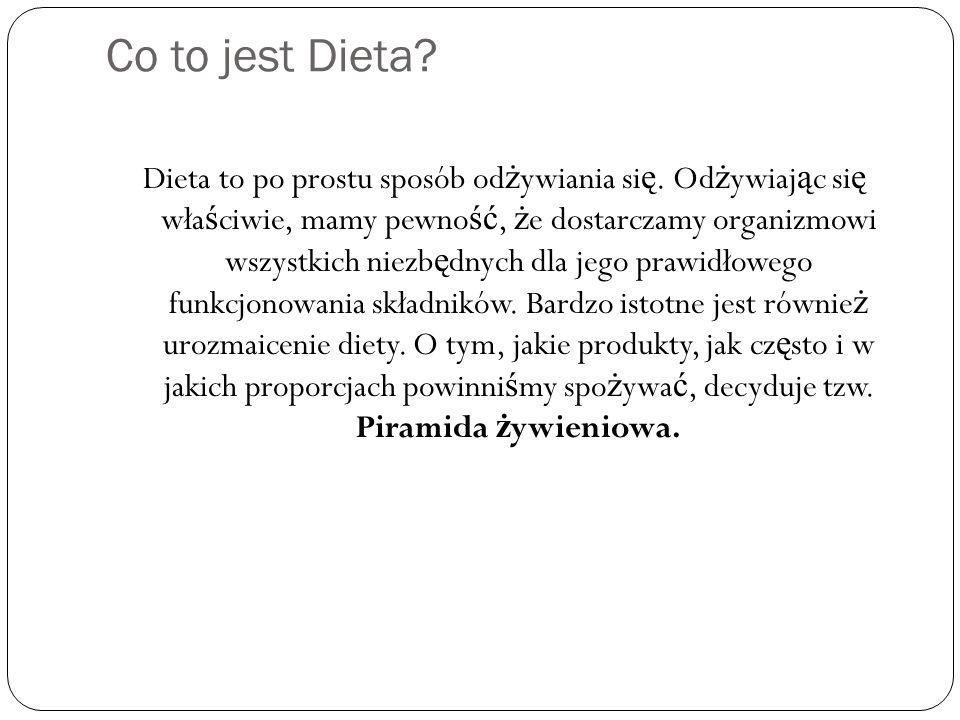 Co to jest Dieta? Dieta to po prostu sposób od ż ywiania si ę. Od ż ywiaj ą c si ę wła ś ciwie, mamy pewno ść, ż e dostarczamy organizmowi wszystkich