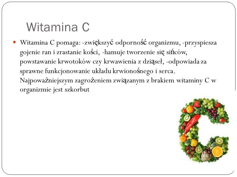 Witamina D Witamina D reguluje przemian ę wapnia i fosforu oraz pomaga w tworzeniu ko ś ci.Wyst ę puj ę w : Ś wietle słonecznym Tranie Nabiale Łososiu
