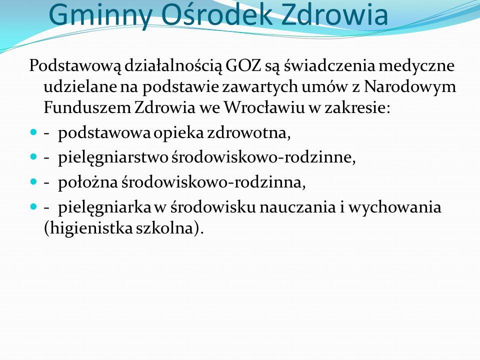 Gminny Ośrodek Zdrowia Podstawową działalnością GOZ są świadczenia medyczne udzielane na podstawie zawartych umów z Narodowym Funduszem Zdrowia we Wrocławiu w zakresie: - podstawowa opieka zdrowotna, - pielęgniarstwo środowiskowo-rodzinne, - położna środowiskowo-rodzinna, - pielęgniarka w środowisku nauczania i wychowania (higienistka szkolna).