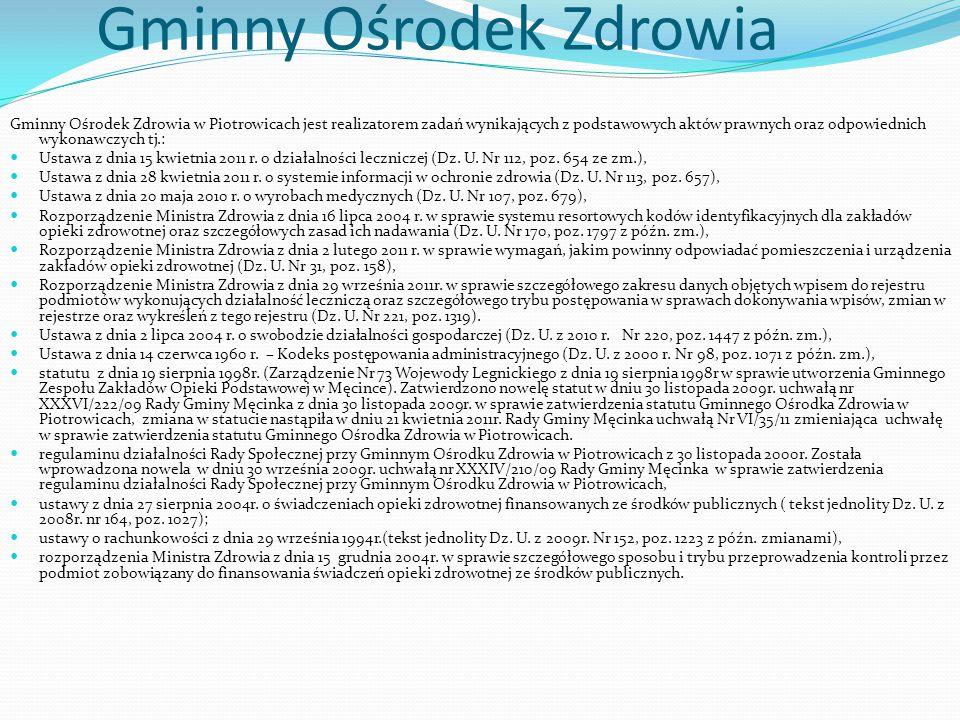 Gminny Ośrodek Zdrowia Gminny Ośrodek Zdrowia w Piotrowicach jest realizatorem zadań wynikających z podstawowych aktów prawnych oraz odpowiednich wyko