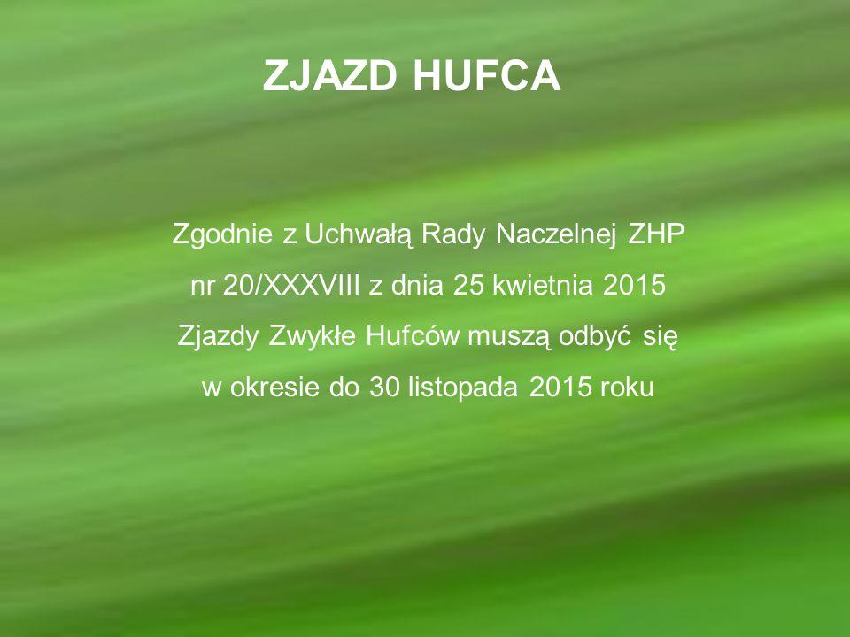 ZJAZD HUFCA Zgodnie z Uchwałą Rady Naczelnej ZHP nr 20/XXXVIII z dnia 25 kwietnia 2015 Zjazdy Zwykłe Hufców muszą odbyć się w okresie do 30 listopada