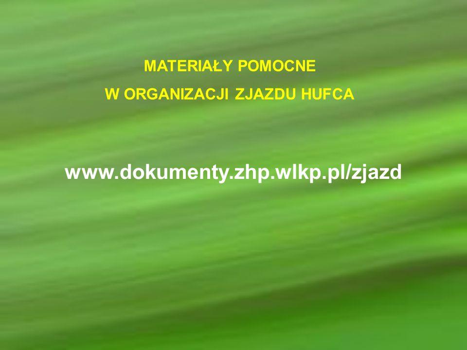 MATERIAŁY POMOCNE W ORGANIZACJI ZJAZDU HUFCA www.dokumenty.zhp.wlkp.pl/zjazd