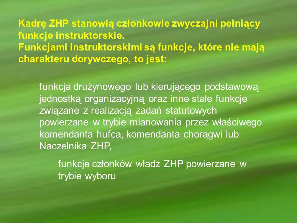 Kadrę ZHP stanowią członkowie zwyczajni pełniący funkcje instruktorskie. Funkcjami instruktorskimi są funkcje, które nie mają charakteru dorywczego, t